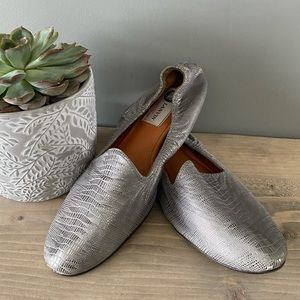 Lanvin Silver Smoking Loafer Flat Size EU37.5